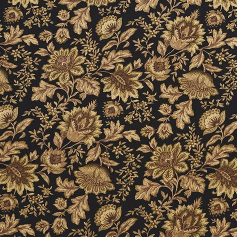 Floral Upholstery Fabric by C433 Black Green Brown Floral Outdoor Indoor Upholstery