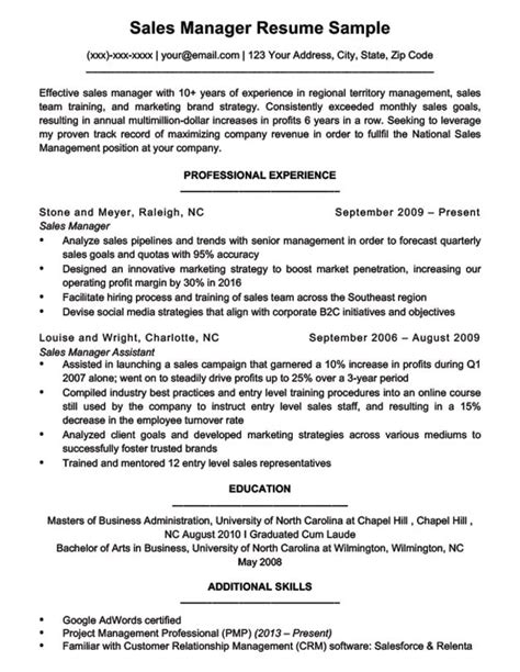 Sales Manager Resume Template by Sales Manager Resume Sle Writing Tips Resume Companion