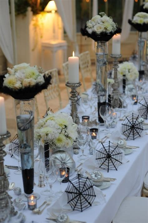 spooky  elegant halloween wedding table settings