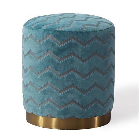 Velvet Pouf Ottoman - velvet quatrefoil pattern ottoman footstool