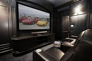 modern small home theater room design with dark black With furniture for small home theater