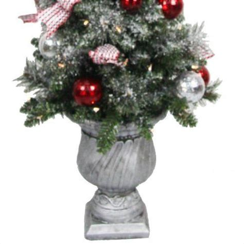 prelit battery operated potted christmas tree home accents 4 ft battery operated frosted mercury potted artificial tree