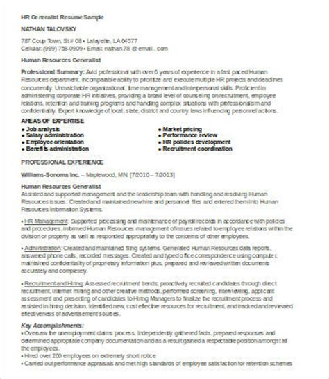 Hr Generalist Resume Pdf by Hr Resumes 7 Free Word Pdf Documents Free Premium Templates