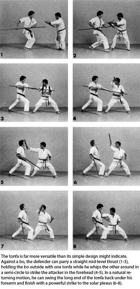 On the other hand, the tonfa could — with training in the karate techniques of early Okinawa — easily be put to deadly use. Description from