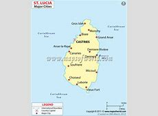 Cities in St Lucia, Map of St Lucia Cities
