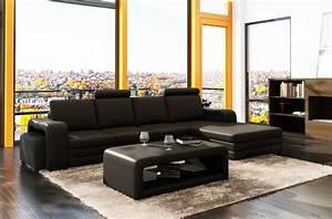 Canapé Droit Xxl : canap d 39 angle en cuir 5 6 places mobilier priv ~ Teatrodelosmanantiales.com Idées de Décoration