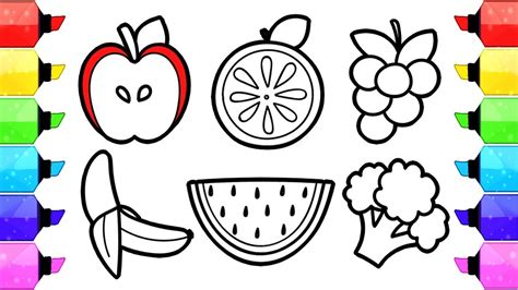 fruits  vegetables coloring pages   draw