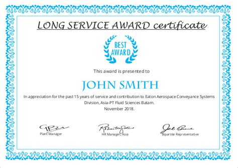 editable printable  long service award certificate template