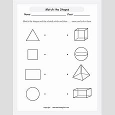 Match Each Shape To A Solid And Then Color Great Math Geometry Worksheet