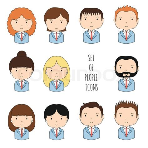 set  colorful office people icons businessman