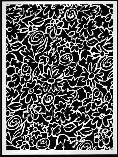 Garden Flowers and Leaves Stencil