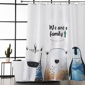 White Animal Polyester Cute Shower Curtains for Kids
