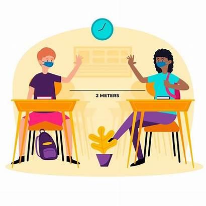 Social Distancia Soziale Distanz Sociale Escuela Schule
