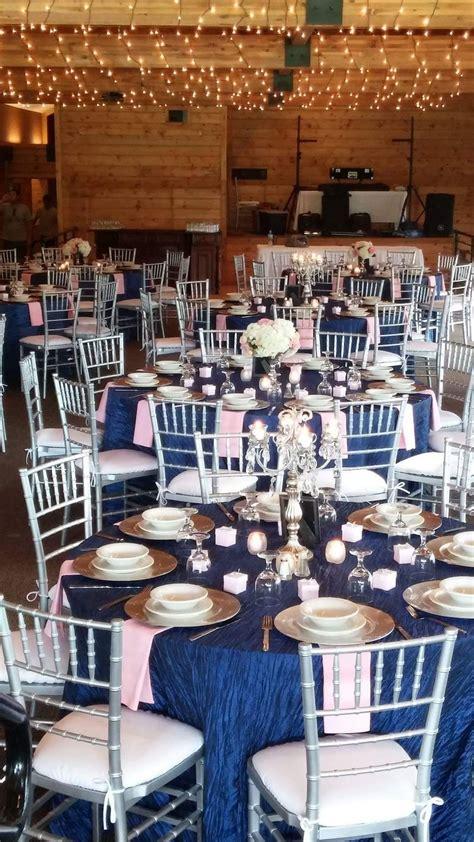 navy blue silver and blush pink wedding candelabras