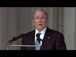 Former President George W. Bush delivers an emotional ...
