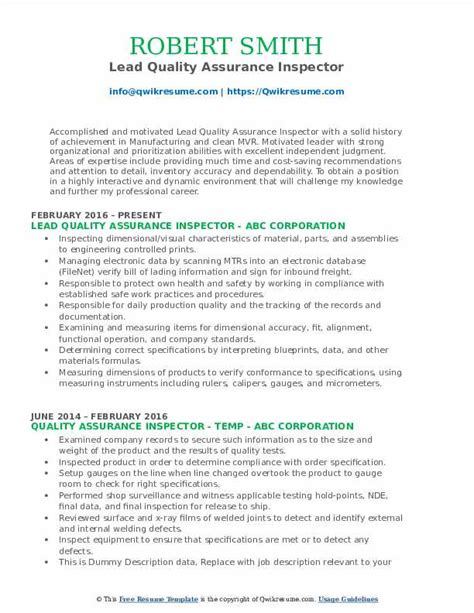 Quality assurance and control is imperative in all industries. Quality Assurance Inspector Resume Samples | QwikResume