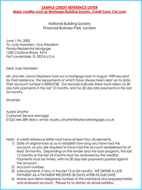 credit reference letter   samples  write perfect