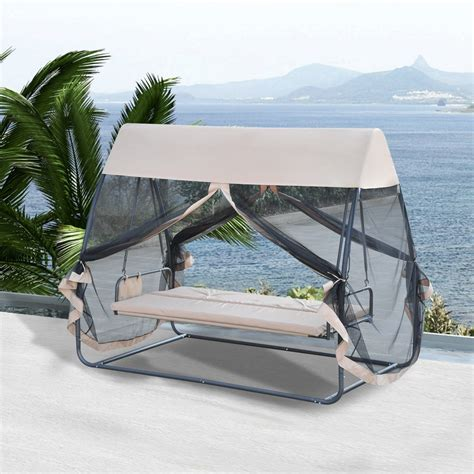 covered hammock bed outsunny 3 person covered outdoor swing chair hammock bed