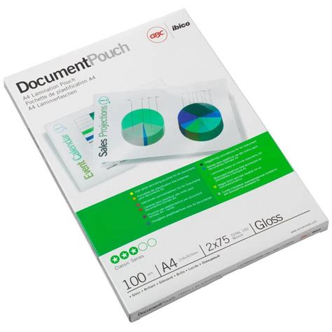 bureau d馭inition 100x pochettes de plastification gbc a4 brillant 2x75 microns