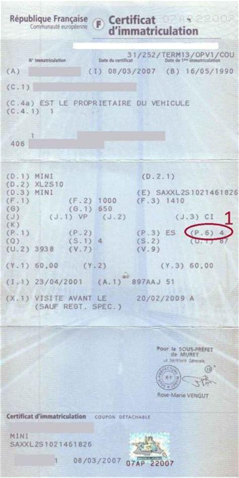 connaitre modele de voiture avec sa carte grise connaitre les chevaux fiscaux de sa voiture voitures
