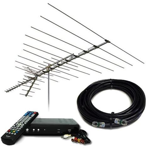 xtreme signal range vhf uhf fm outdoor hdtv antenna with converter box dvr and 50 coax
