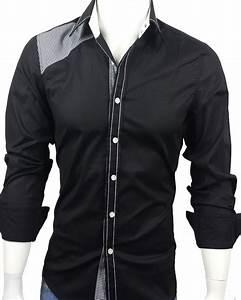 28 - Men s Casual Long Sleeve Dress Shirt Black with Checks