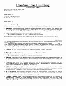 contract for building and repair free download With house building contract template