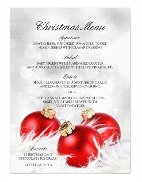 holiday party menu templates designs templates