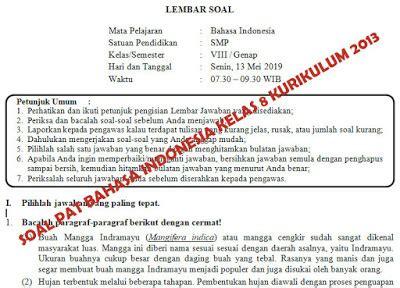 Teks eksposisi kata kunci : Soal dan Kunci Jawaban PAT Bahasa Indonesia SMP Kelas 8 ...