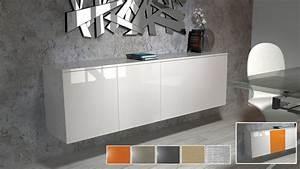 Buffet Salon Blanc : aparador suspendido 4 puertas halifax blanco lacado y personalizable ~ Teatrodelosmanantiales.com Idées de Décoration