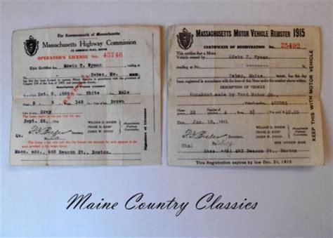 Boat Driving License Massachusetts 1914 massachusetts drivers license 1915 registration ford