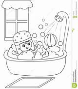 Bath Coloring Taking Clipart Shower Boy Bathtub Take Bathroom Cartoon Sheets Bubbles Illustration Template Useful Clipground Pages Child Turns Sheet sketch template