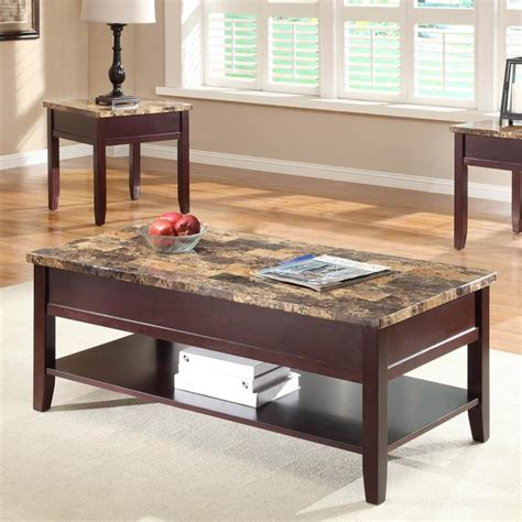 Faux marble top coffee table. Homelegance Orton Medium-dark Brown Faux Marble Coffee Table at Lowes.com