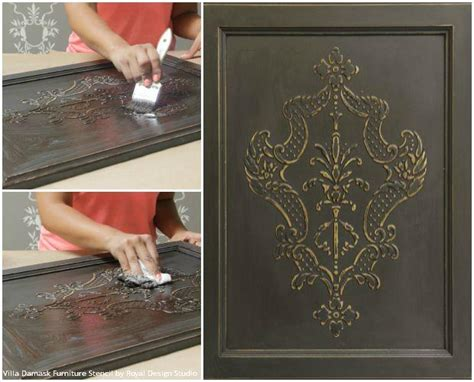 stencil create  diy raised carved wood effect