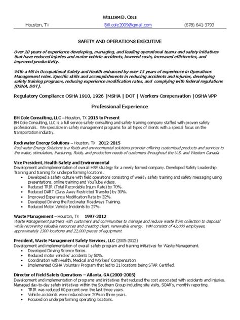 Coles Upload Resume by Vp Director Health Safety In Houston Tx Resume William Cole Docshare Tips