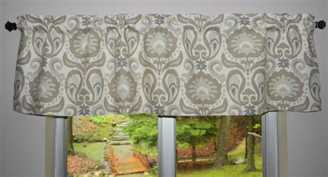 Kitchen Valance  Paisley Floral Ikat  Taupe And Gray