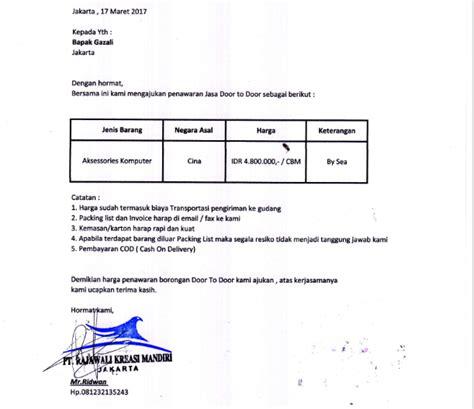 Contoh Surat Pemesanan Jasa by Contoh Surat Penawaran Jasa Perusahaan Juraganesia