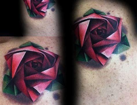 geometric rose tattoo designs  men flower ink ideas