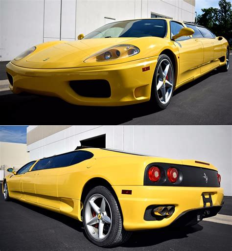 What was a stunning 2003 ferrari 360 modena was customized upon arriving down under in 2012. Yellow Ferrari 360 Limousine is One-of-a-Kind, Fails to Sell in Online Auction - TechEBlog