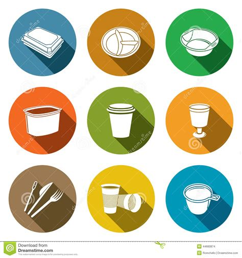 disposable tableware icons stock illustration image