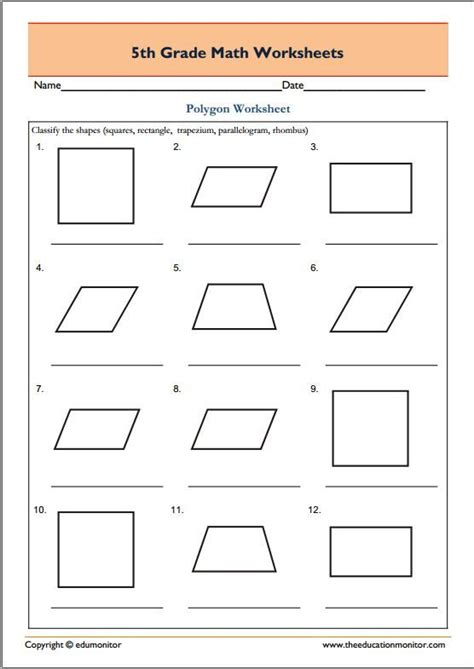 5th Grade Geometry Math Worksheets  Polygons  Fifth Grade Worksheets  Math Worksheets