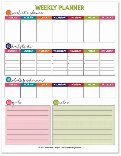 Planner Weekly Printable Calendar Organization Week Template