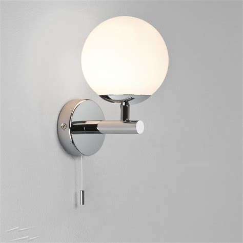 wall light with switch homebase polished chrome ip44 bathroom wall light with pull cord