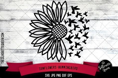 sunflowers hummingbird cut file svg  cut files design bundles