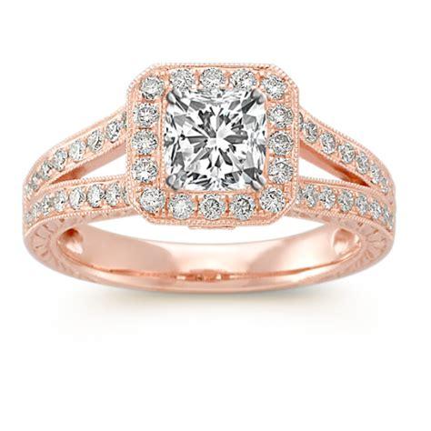 split shank halo engagement ring  pave setting