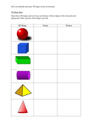 3d shape hunt by sbrumby1 teaching resources tes