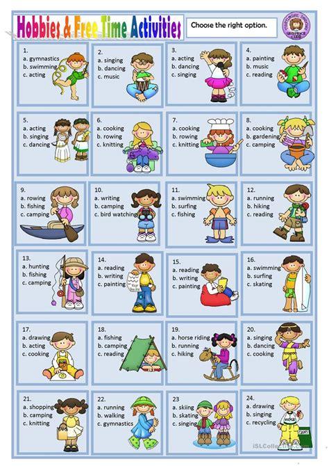 hobbies   time activities worksheet  esl