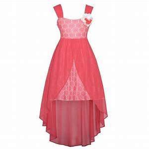 Rare Editions Coral Lace Overlay Flower Hi Low Easter ...