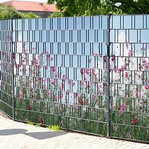 Doppelstabmattenzaun Sichtschutz Motiv : sichtschutzstreifen bedruckt motiv sommerblumen rose ~ A.2002-acura-tl-radio.info Haus und Dekorationen