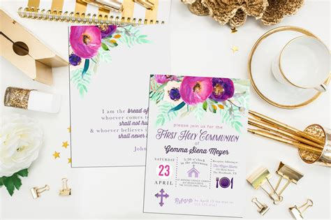 Printable First Communion Invitation Baptism Invite